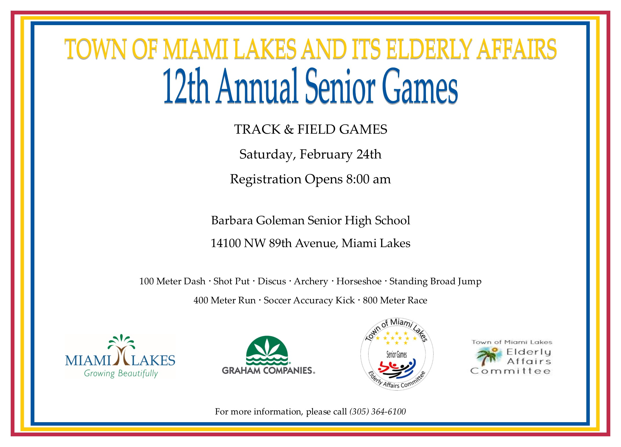 Town of Miami Lakes - Growing Beautifully - 12th Annual Senior Games