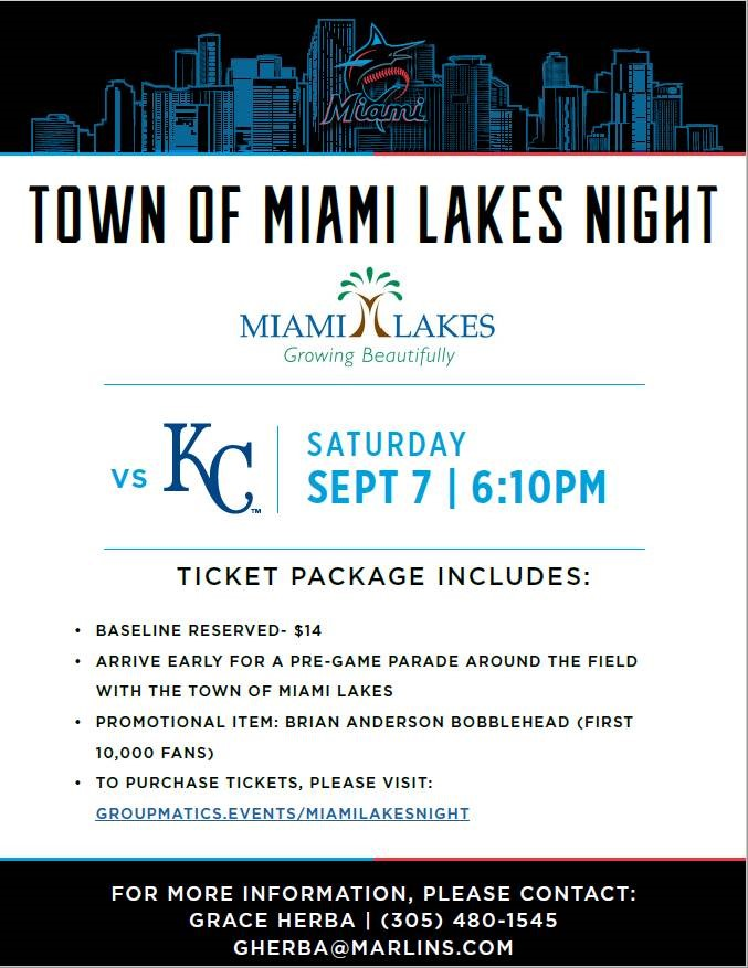 1st Annual Town of Miami Lakes Night at Miami Marlins Ballpark Event
