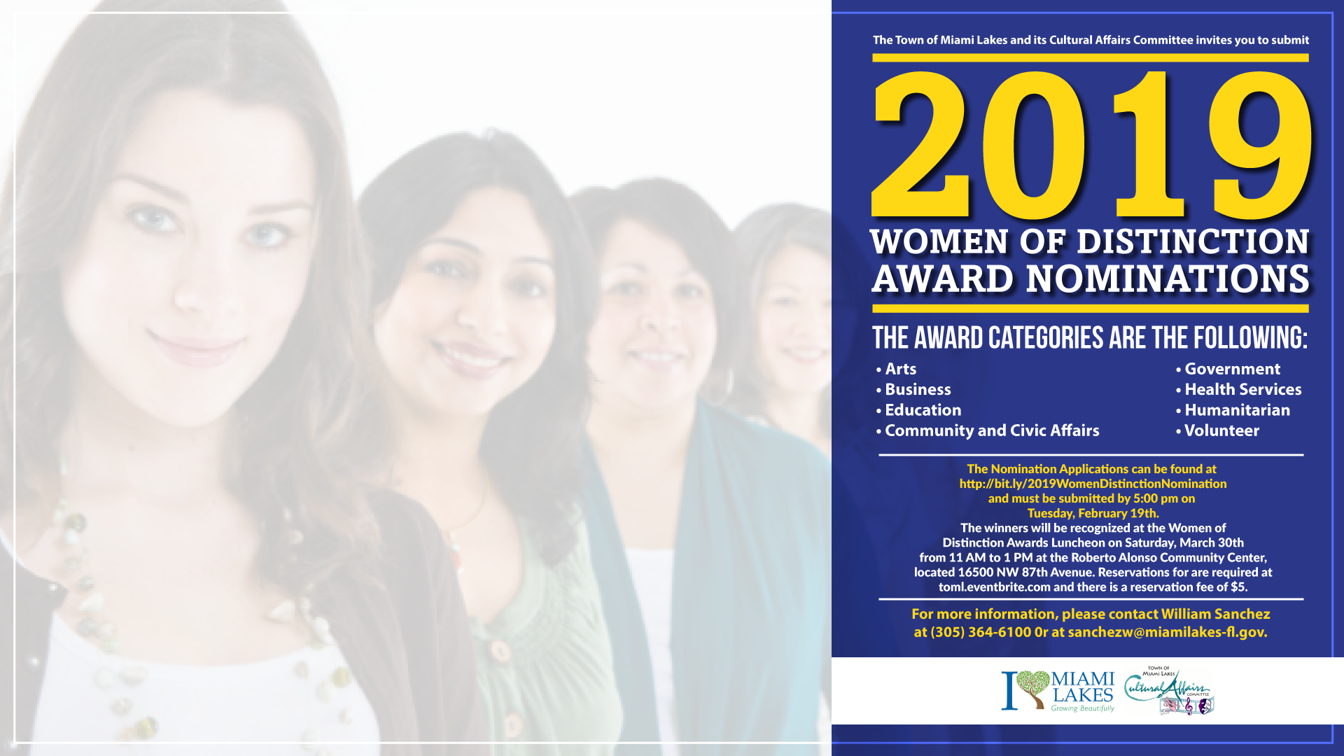 2019 Women of Distinction Award Nominations flyer