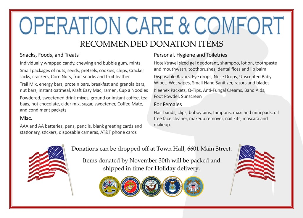 Donation Items Care Package Drive 2017