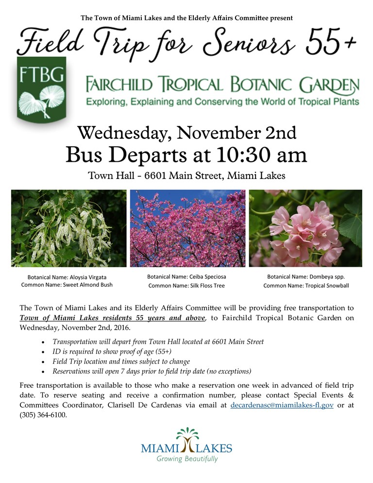 Fairchild Tropical Botanic Gardens Field Trip Flyer 2016