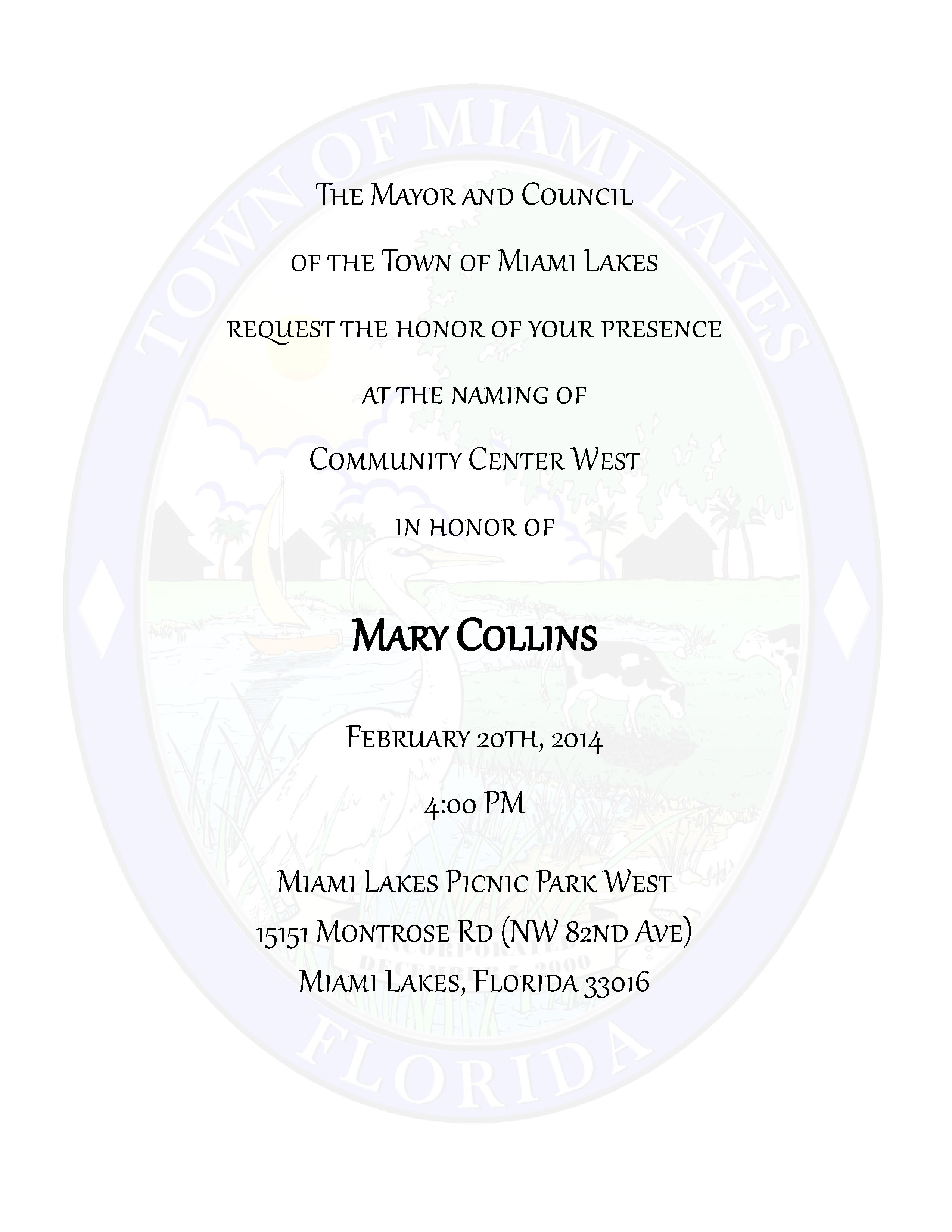 Mary Collins Community Center Dedication Ceremony Invite