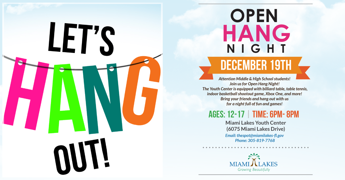 Open Hang December 19th flyer