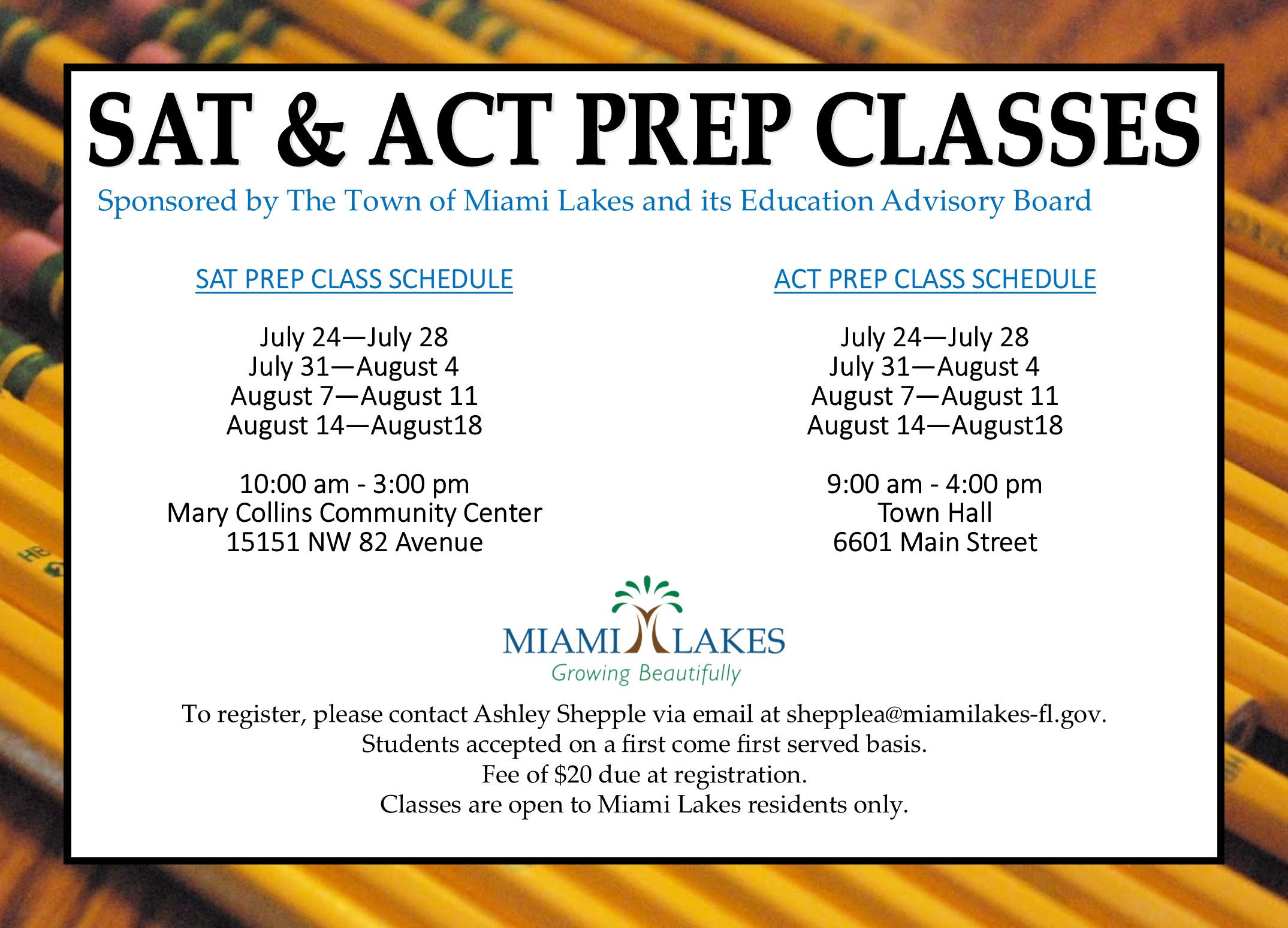 SAT ACT prep classes With Ashley Contact Info