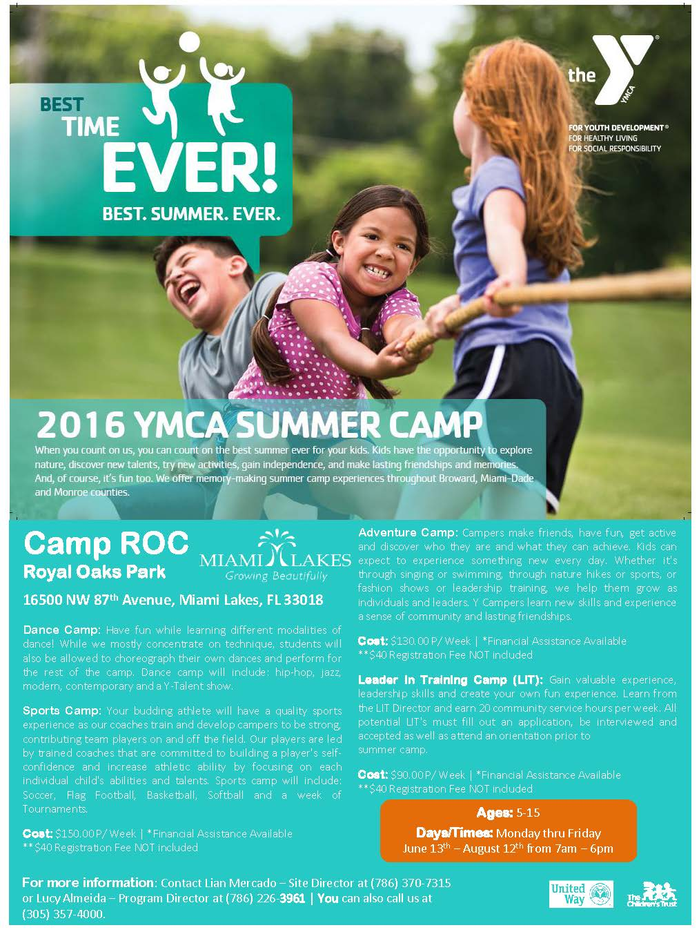 YMCA SUMMER 2016 FLYER