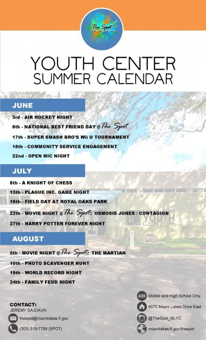 Youth Center Summer Programing Calendar 1137 900 700 90