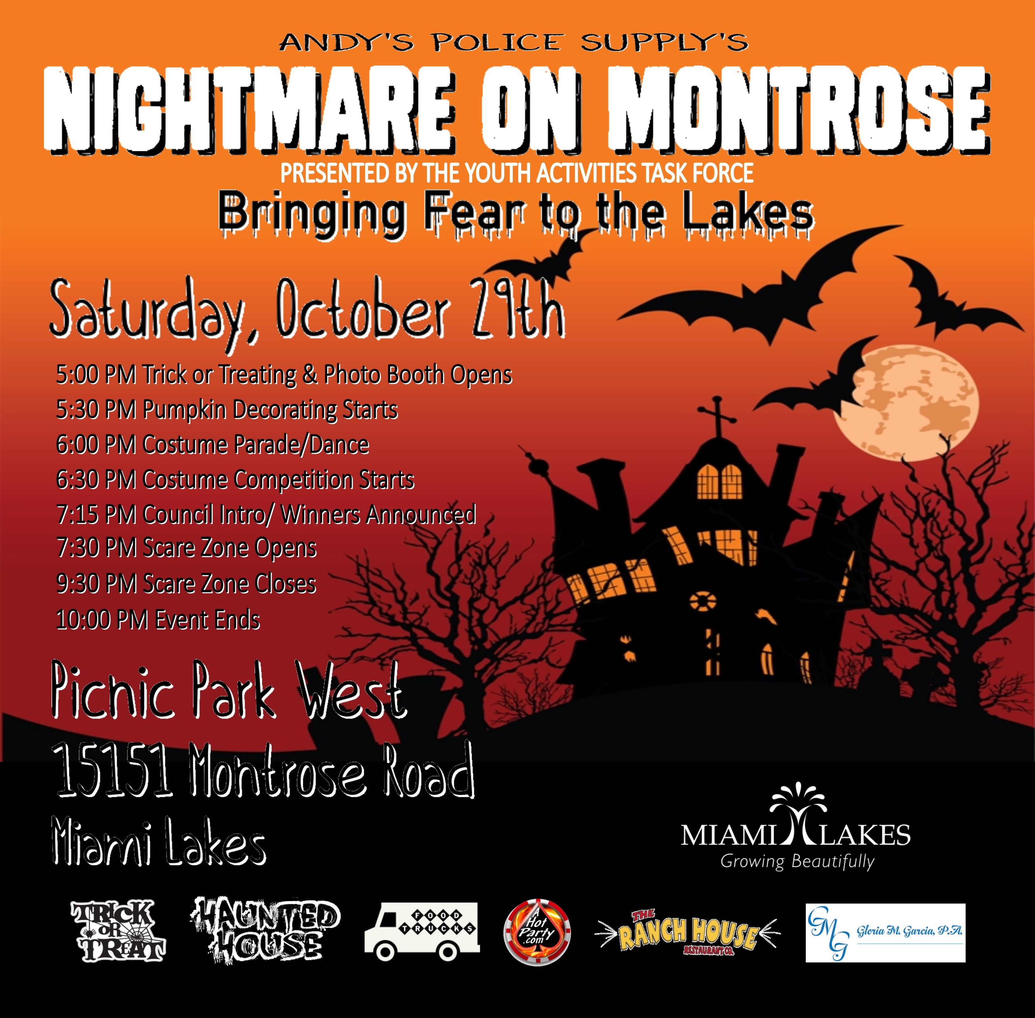 kids of all ages are invited to nightmare on montrose saturday october 29th beginning at the haunting hour of 5 pm at miami lakes picnic park west