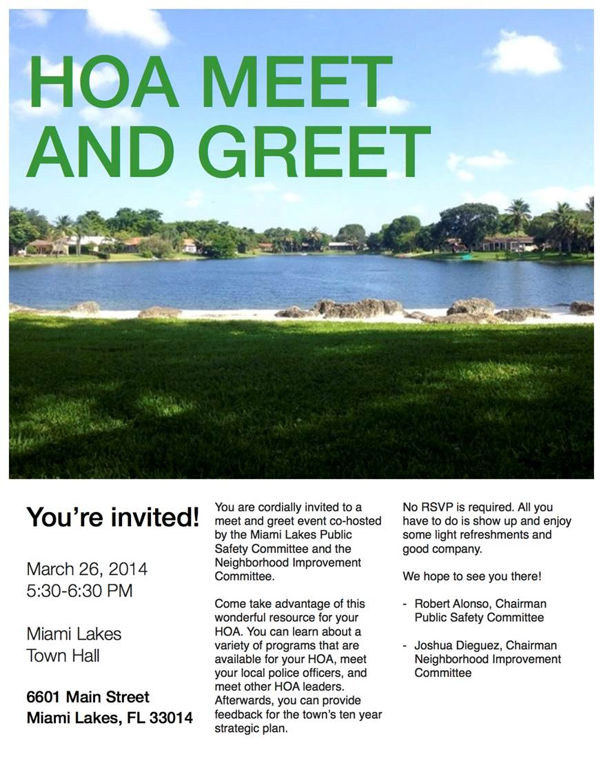 Town of Miami Lakes - Growing Beautifully - HOA Meet & Greet