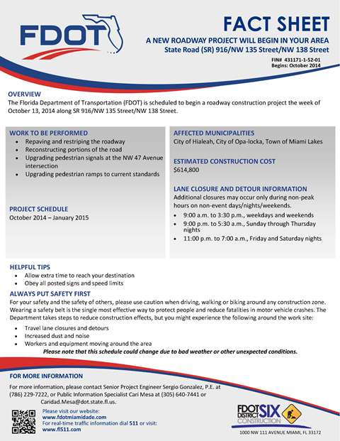 Fact Sheet NW 135 Project Hialeah Page 1