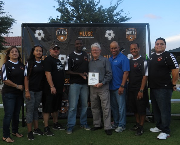 Mayor and Mestre with ML United Inhouse Soccer Club Closing Ceremonies web