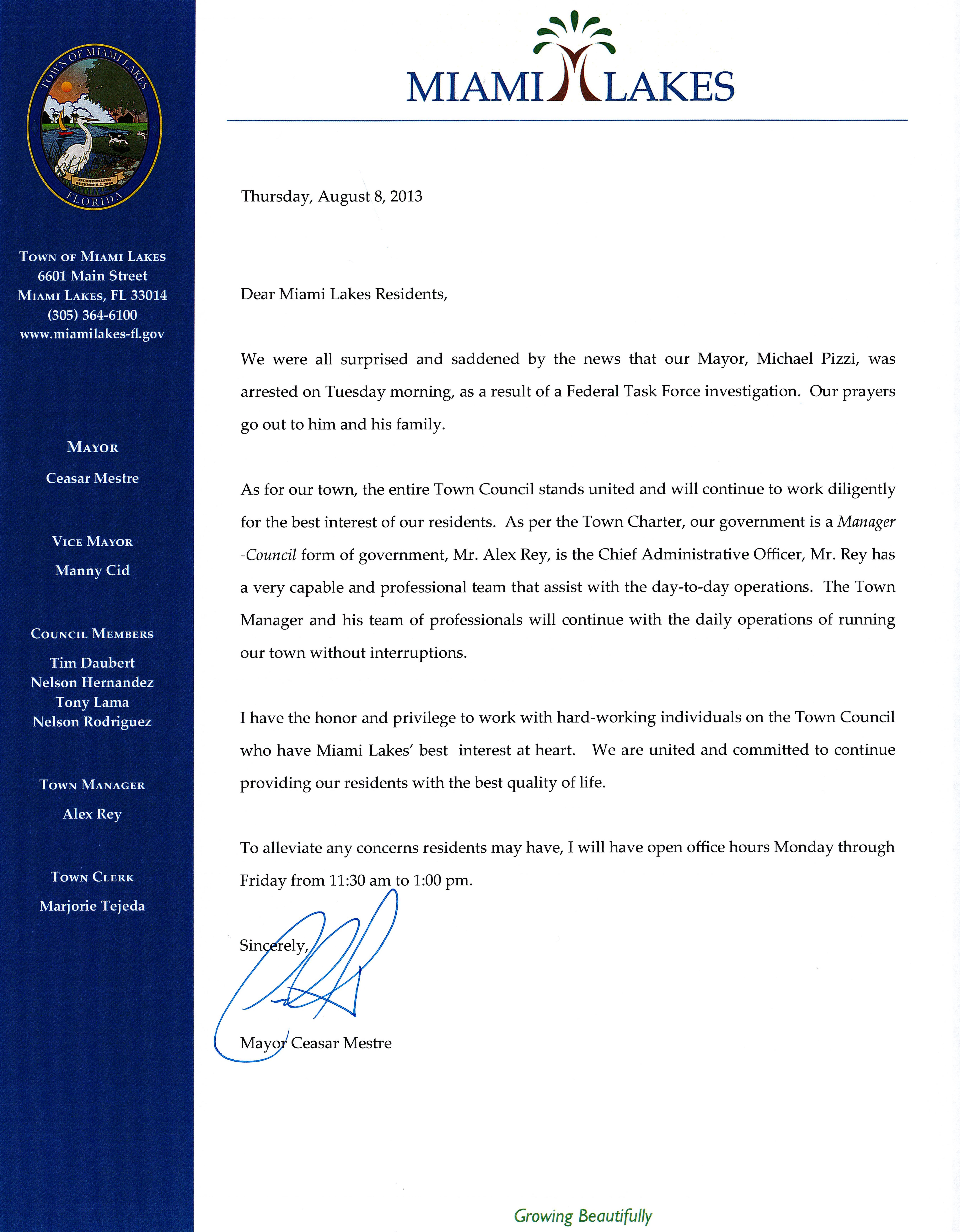 Open Letter to Miami Lakes Residents from Mayor Ceasar Mestre
