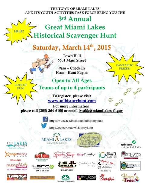 Town of Miami Lakes Scavenger Hunt Flyer FINAL web