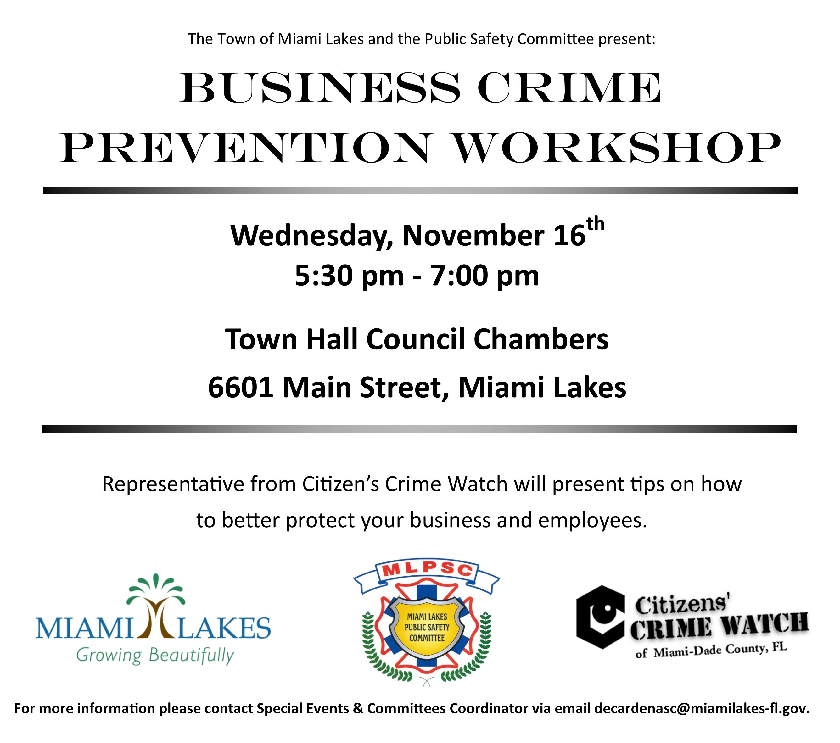 business crime prevention flyer